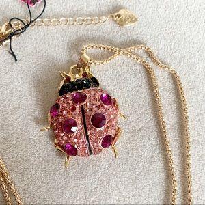 Betsey Johnson Crystals ladybug necklace NWT